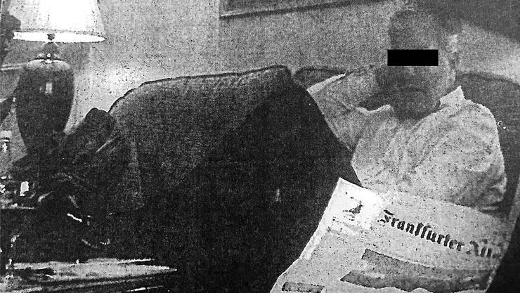 Daniel M. Ende 2014 im Frankfurter Hotel Intercontinental, fotografiert von Ex-BND-Leuten mit versteckter Kamera. Bei dieser Gelegenheit fand eine Geldübergabe statt für Bankdaten, die M. verkaufte.
