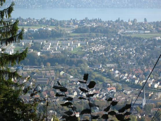 Der Blick von der Felsenegg auf Adliswil. So auch auch auf Kilchberg und den Zürich See.