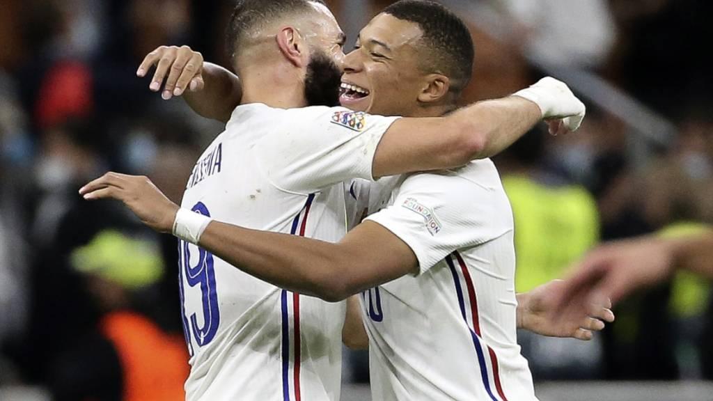 Karim Benzema und Kylian Mbappé sorgten mit ihren Toren für die Wende zugunsten Frankreichs