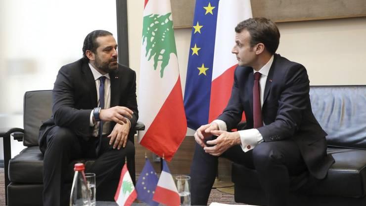 Der libanesische Ministerpräsident Saad Hariri (l.) und Frankreichs Präsident Emmanuel Macron am Freitag in Paris.