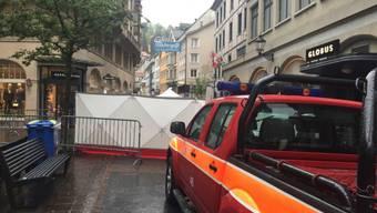 Der 61-jährige Kosovare, dem vorgeworfen wird, im Mai 2016 seinen Cousin in der St. Galler Altstadt erschossen zu haben, wird zu einer Freiheitsstrafe von 15 Jahren verurteilt. ( Archiv sda)