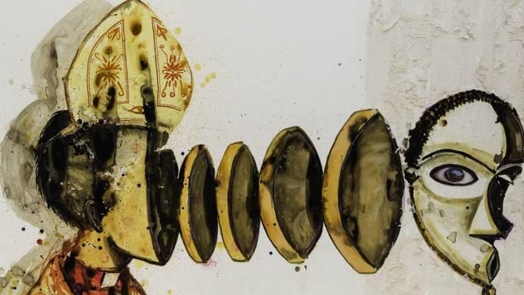 """Das Blatt """"Papotage"""" (2016) von Steve Bandoma ist Teil der Ausstellung """"Fiktion Kongo - Kunstwelten zwischen Geschichte und Gegenwart"""" im Museum Rietberg in Zürich. Die Schau dauert vom 22. November 2019 bis 15. März 2020."""