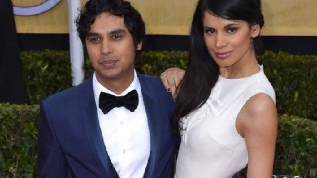 Kunal Nayyar mit seiner Frau, der früheren Miss Indien Neha Kapur. Zur Hochzeit waren 1000 Gäste eingeladen - nicht aber «Rajs» Kollegen aus «The Big Bang Theory» (Archiv)