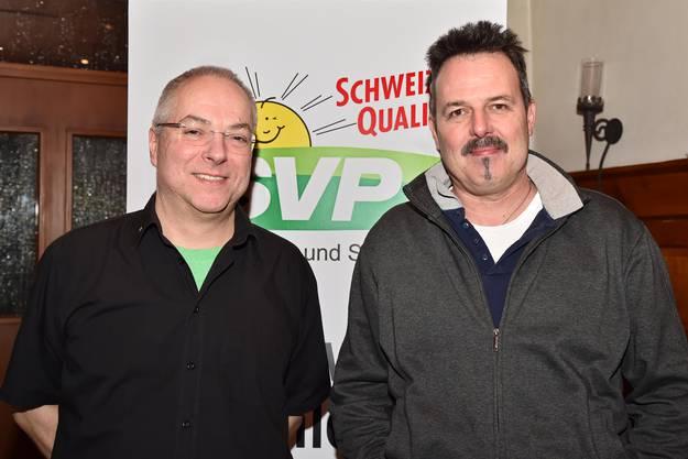Werner Ramel, Präsident der Ortspartei, und Vorstandsmitglied Rolf Schertenleib.