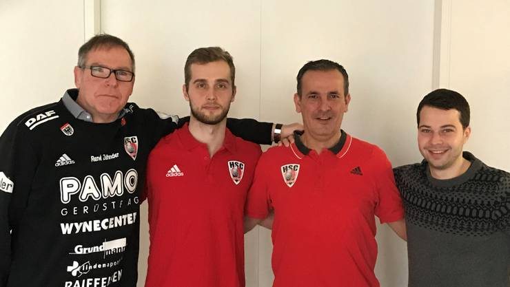 Von links nach rechts: René Zehnder (Präsident), David Poloz (HSC-Neuzugang zur Saison 2018/19), Michael Conde (Sportchef) und Lukas Wernli (Geschäftsführer).