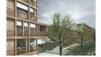 Vision: So soll das neue Wohn- und Gewerbehaus auf der von der Strasse abgewandten Seite aussehen. Foto: zvg