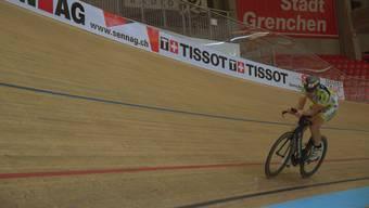 Christoph Strasser beim Training im Velodrome.