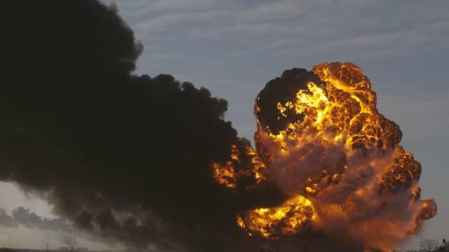 Nach der Explosion der Kesselwaggons