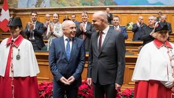 Ueli Maurer (links) wurde gestern zum Vizepräsidenten und Alain Berset zum Bundespräsidenten gewählt. Peter Klaunzer/Keystone