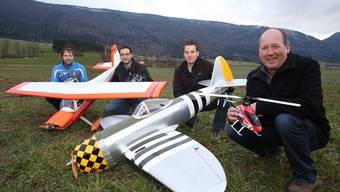 Die Initianten des Modellflugclubs Thal (v.l.): Christian Richter, David Koch, Marco Koch und Kurt Koch (designierter Präsident).