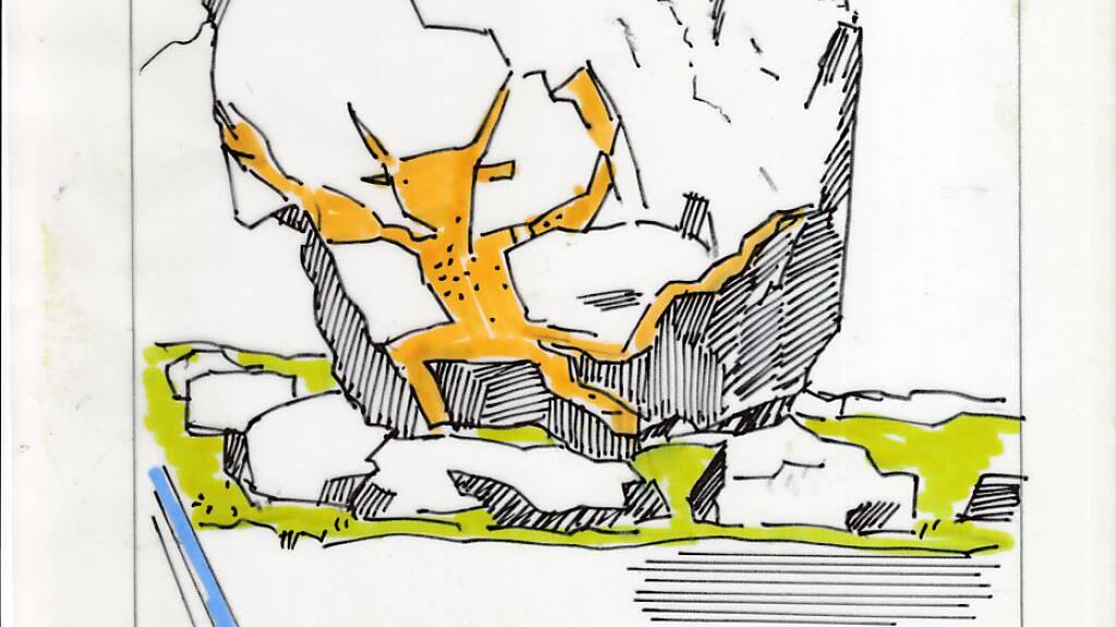 Der Urner Künstler Franz Fedier (1922-2005) hatte bereits 1970 die Idee, dass Luzifer den Teufelsstein in Göschenen zieren sollte. Doch seine Skizze verschwand im Staatsarchiv Uri; umgesetzt wird das Projekt erst jetzt zu Fediers 100. Geburtstag.