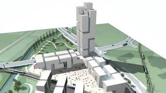 Ein solches Hochhaus ist in Dübendorf geplant - das zweithöchste der Schweiz.  Visualisierung/zvg