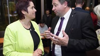 Wollen im Kanton Waadt gemeinsam eine rechtsbürgerliche Mehrheit für den Staatsrat erkämpfen: Isabelle Chevalley (GLP) und Jacques Nicolet (SVP).