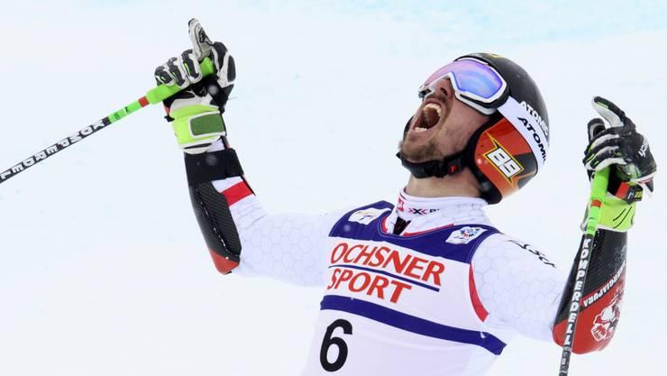 Freudenschrei nach der Zieleinfahrt: Hirscher ist Riesenslalom-Weltmeister.