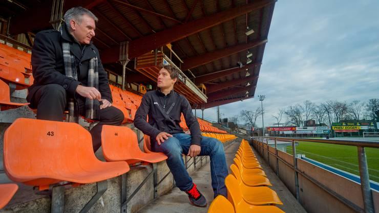 Hier 2013 im Stadion Brügglifeld mit Radprofi Silvan Dillier.