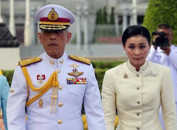 Thai King Maha Vajiralongkorn and Queen Suthida.  (EPA, Bangkok, 2. Mai 2019)