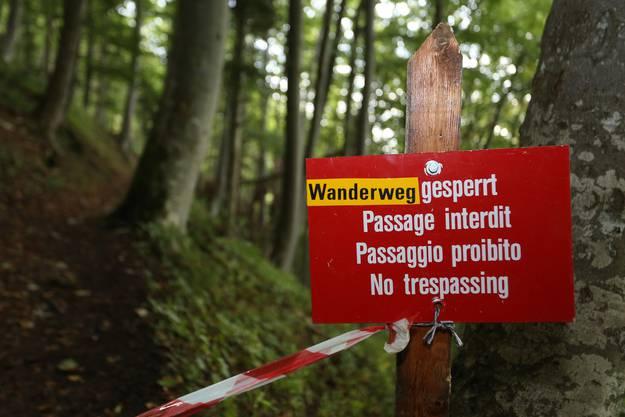 Der Wanderweg ist derzeit wegen Steinschlaggefahr gesperrt