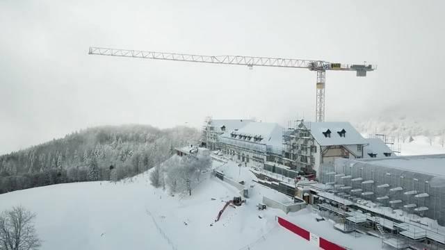 Drohnenaufnahme von der Baustelle auf dem Weissenstein im Januar 2019