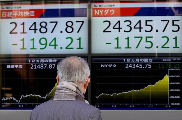 Der massive Kurseinbruch an der Wall Street hat auch die asiatische Leitbörse in Tokio in den Keller gerissen. Der Nikkei-Index für 225 führende Werte sackte am Dienstag in den ersten 15 Handelsminuten um fast 1000 Punkte ab.