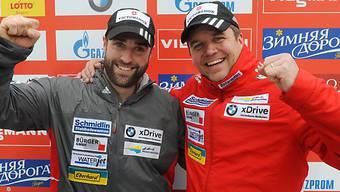 Fahren das Olympia-Rennen zusammen: Beat Hefti (r.), Alex Baumann.
