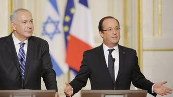 Der israelische Premierminister Benjamin Netanjahu (l.) und der französische Präsident François Hollande in Paris