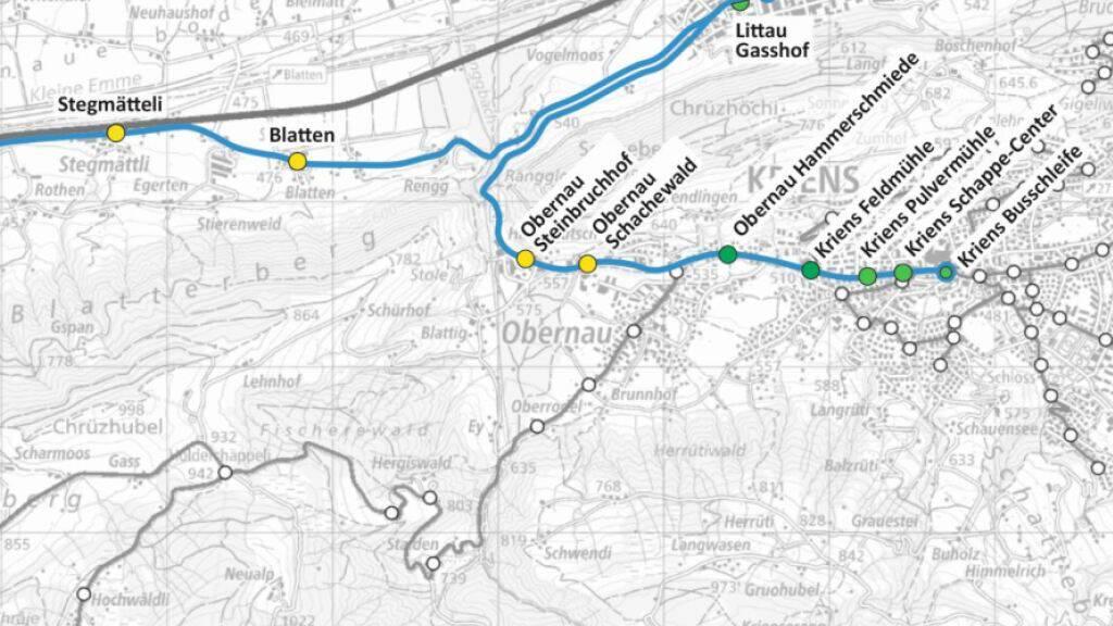 Die geplante Buslinie Malters-Littau-Kriens.