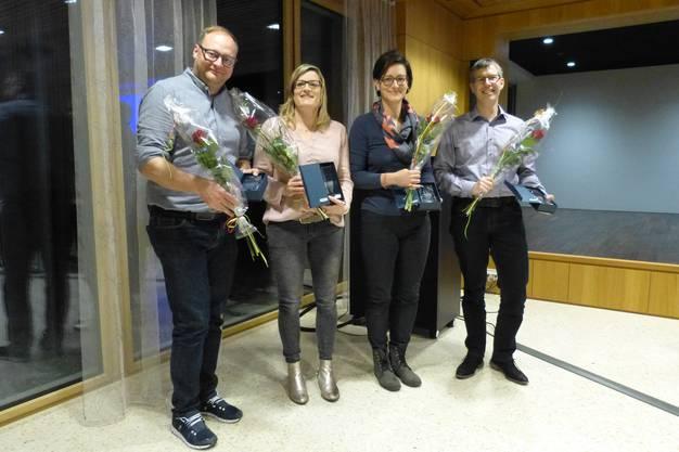 Nach 25 Jahren aktivem Musizieren zum Kantonalen Veteran geehrt: Markus Geiser, Corinne Ritschard Deng, Esther Hack- Leimgruber und Peter Ris (v.l.).