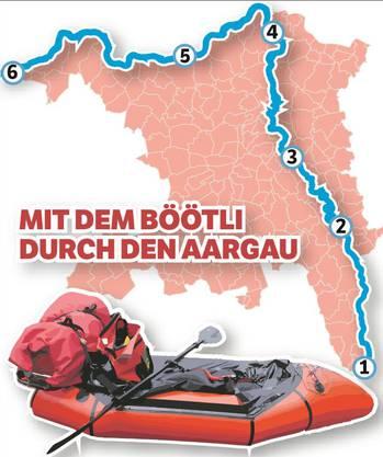 Durch den Aargau im Schlauchboot von Süden (Oberrüti) nach Norden (Kaiseraugst) mit Übernachtungen in der freien Natur. Erste Etappe: Oberrüti–Rottenschwil– Flachsee– Bremgarten.
