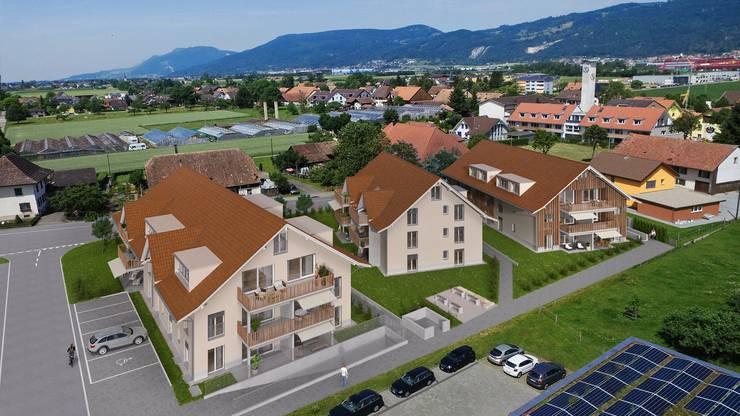 Eine Visualisierung der drei geplanten Mehrfamilienhäuser.
