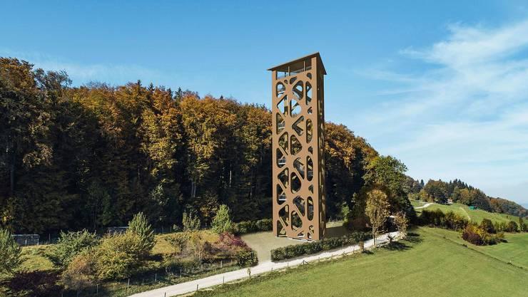 Aktuell sieht es am Turm-Standort noch so aus. So soll der Hasenbergturm in der Nähe des Haus Morgenstern in Widen aussehen.