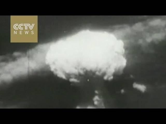 Historisches Filmmaterial des Atombomben-Abwurfs über Hiroshima.