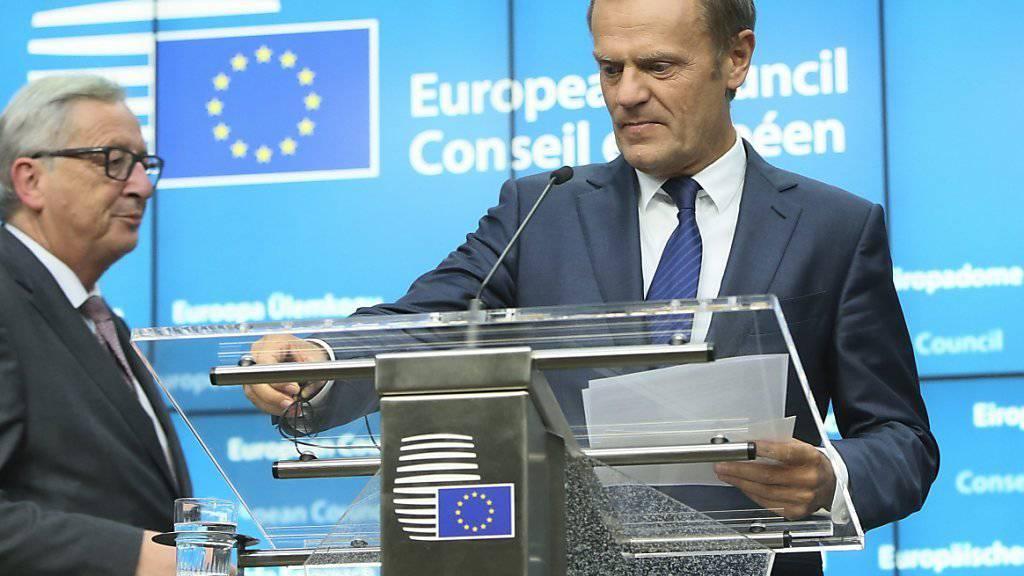 """""""So schnell wie möglich"""", möchten die EU-Regierungs- und Staatschefs das Austrittsbegehren Grossbritanniens. Für eine gewisse Verzögerung haben sie aber Verständnis. Im Bild: EU-Ratspräsident Donald Tusk beim Medienbriefing nach dem EU-Gipfel."""