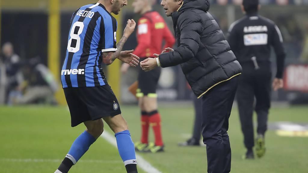 Für Matias Vecino und Antonio Conte endete mit Inter Mailand eine Serie von fünf Serie-A-Siegen in Serie