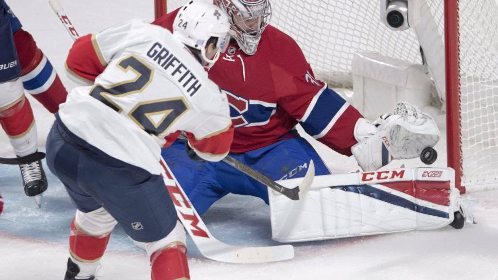 Montreal-Keeper Carey Price pariert den Schuss von Floridas Seth Griffith - die erste Heimniederlage der Canadiens kann er aber auch nicht verhindern