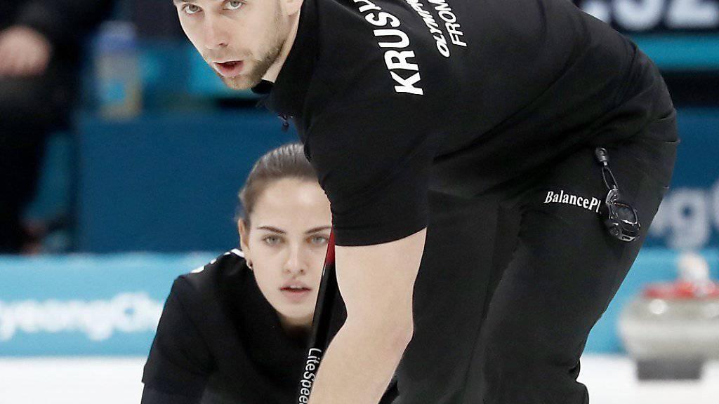 Der Russe Alexander Kruschelnizki gewann in Pyeongchang zusammen mit seiner Partnerin Anastasia Brysgalowa Bronze im Mixed-Curling