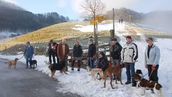 Die Gäste des Hunde-Silvesters geniessen die Neujahrssonne auf dem Oberbölchen. Eric Romann und Evelyn Streiff sind 4. und 5. von links. Foto: Roman Huber