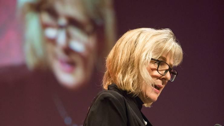 Regierungsrätin Brigit Wyss anlässlich der Vergabe des Unternehmerpreises 2018.