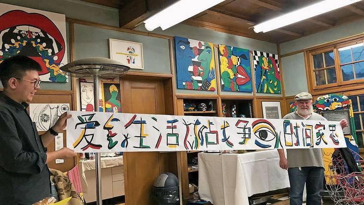 Im November 2019 besuchten Dozenten und Professoren aus China Santhori in seinem Rekinger Atelier.