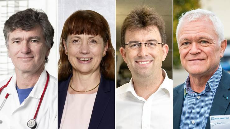 Von links nach rechts: die Grossräte Severin Lüscher (Grüne), Martina Sigg (FDP), Clemens Hochreuter (SVP), Jürg Knuchel (SP).
