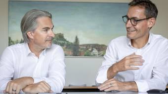 Die Ammänner Patrick Fischer, Fahrwangen (links), und Gérald Strub , Boniswil, wollen, dass die Gemeinden im Seetal zusammenrücken.