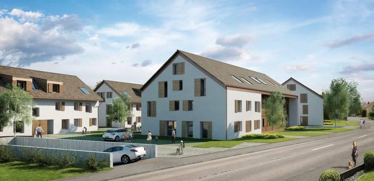 So soll die Wohnüberbauung an Dorfstrasse im Endausbau aussehen.