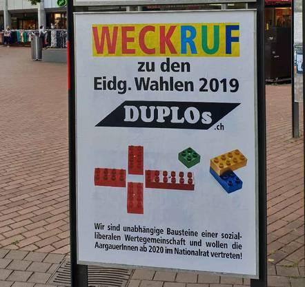Ein Plakat der «DUPLOs» in Brugg. ZVG