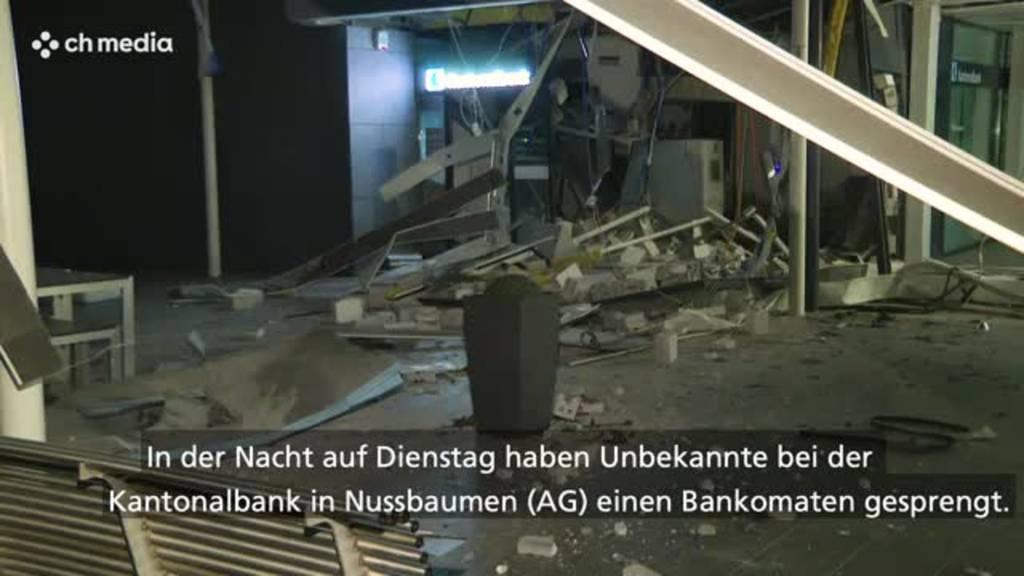 Unbekannte sprengen einen Bankomaten in Nussbaumen AG