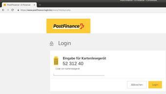 Obacht, diese Webseite ist nicht von Postfinance.