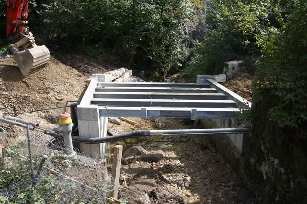 Jetzt braucht es noch den Brückenboden und das Geländer aus Douglasien-Holz.