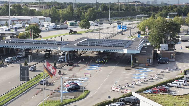 Die Grenze zwischen der Schweiz und Deutschland in Basel.