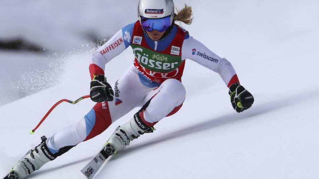 Corinne Suter kam im zweiten Training zur Abfahrt in St. Anton noch nicht auf Touren