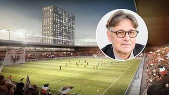 Der Aarauer Stadtrat Hanspeter Thür sagt, es seien nicht nur Hochhäuser, sondern ein ganzes Quartier im Torfeld Süd geplant.