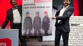 Juso-Präsident Wermuth (r.) und SP-Parteipräsident Levrat in Lausanne