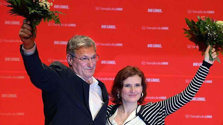 Bernd Riexinger und Katja Kipping feiern ihre Wiederwahl.
